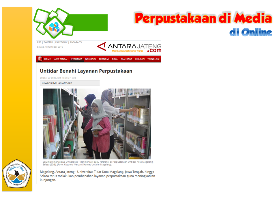 Perpustakaan di Media Website Antara News Jateng