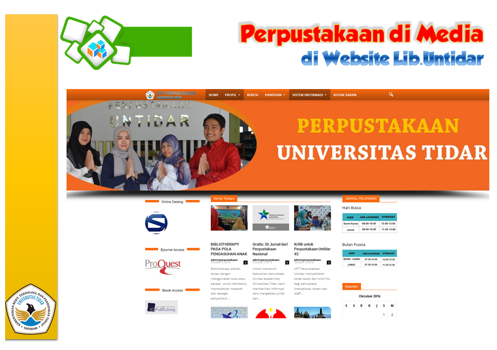 Perpustakaan di Media Website Perpustakaan Untidar