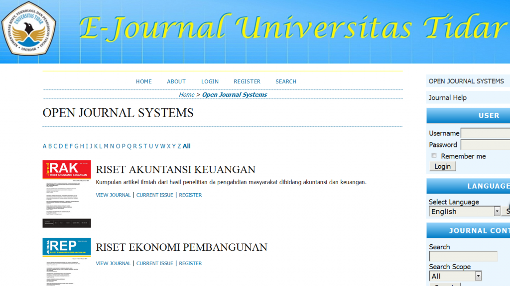 Tampilan Laman Open Journal System Untidar
