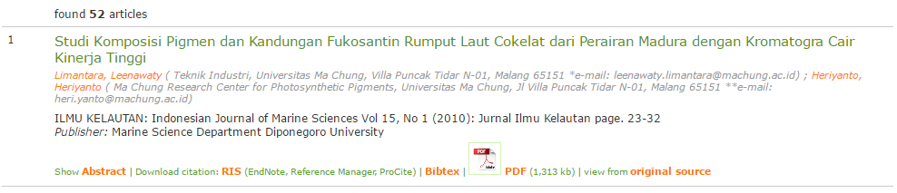 Tampilan Menu Abstrak, Menu PDF, Menu Original Source