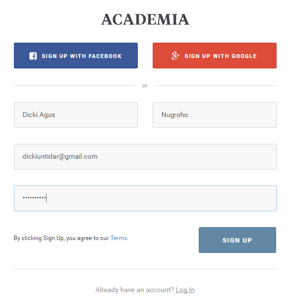 Tampilan cara mendaftar (sign up) Academia Education